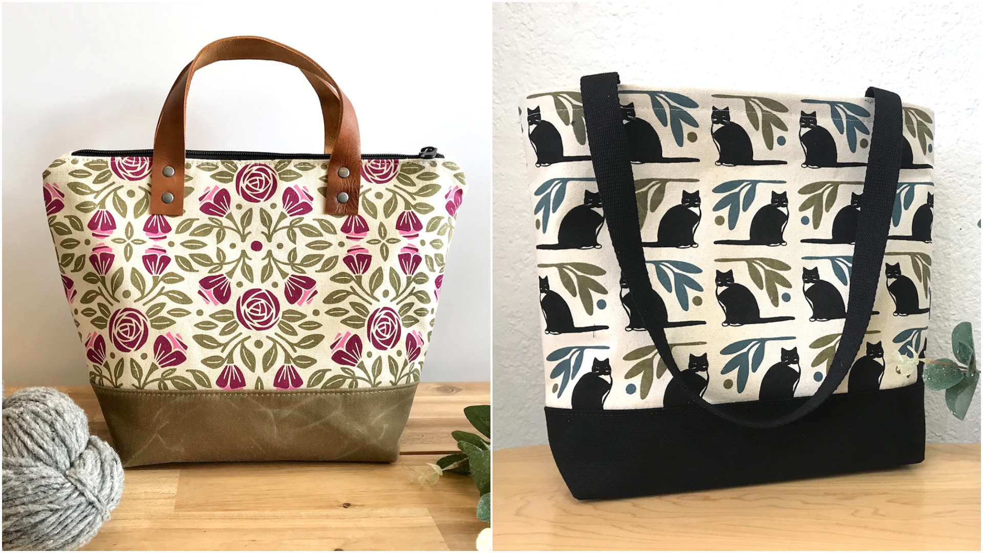 roses and cats bags