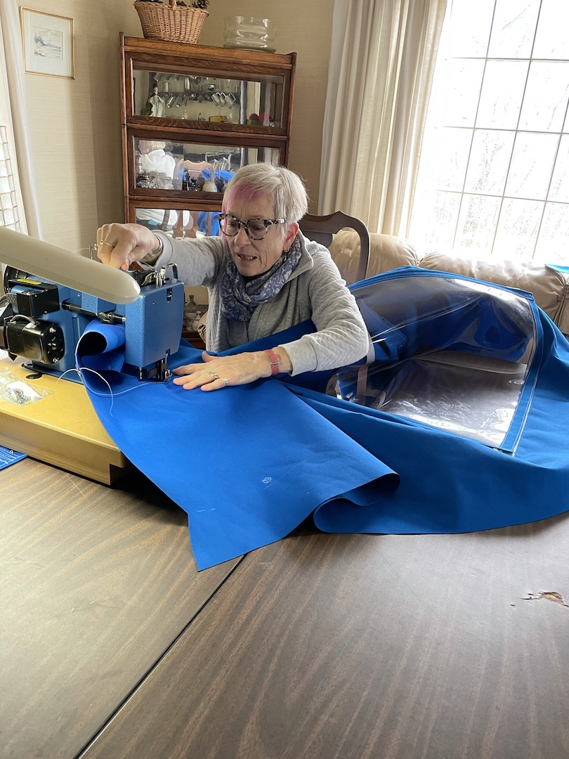 A professional seamstress, Pat is comfortable behind a sewing machine.