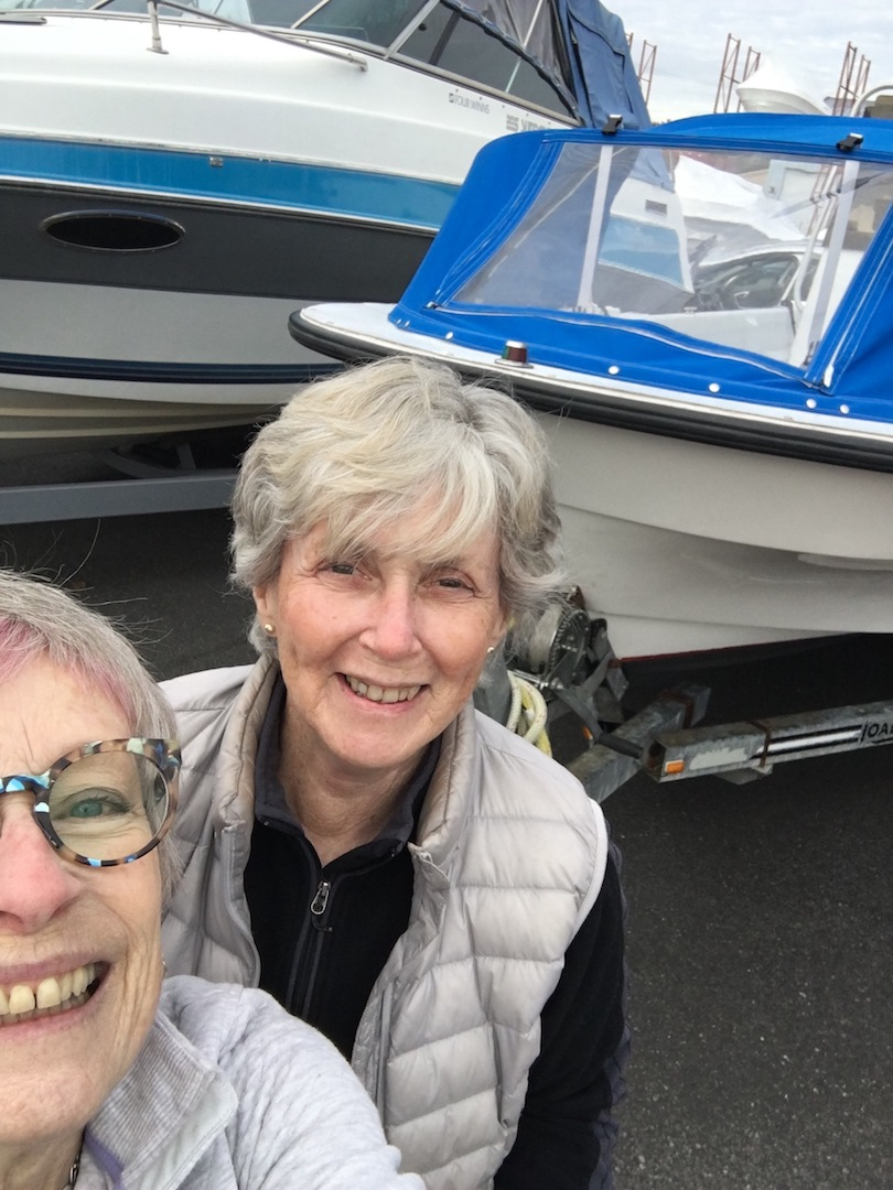 Pat and Ellen with the boat dodger